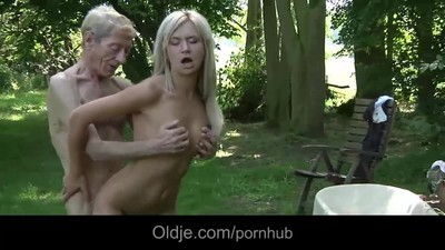 Emaciated old man does anal..