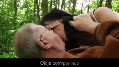 Oldman has sex picnic with..
