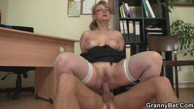 Office bitch enjoys riding..