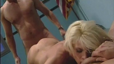Skinny blonde gets fucked by..
