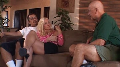 Horny old husband watches..