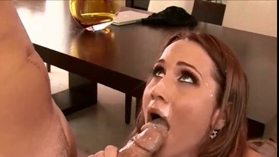 Beautiful bigbreasted milf athena gets a facial