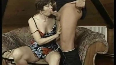 Short hair old woman blowjob