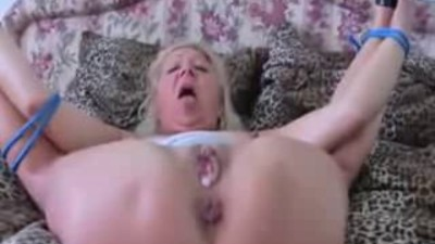 Tied up blonde mature fucked..