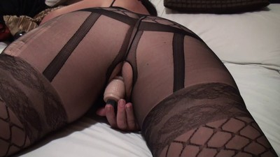 Wife in black lingerie..