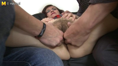 Two boys fuck kinky granny