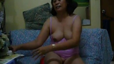 Horny Mature Asian Dildo Time