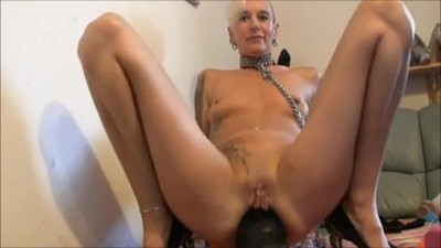 Mature lady breaks own ass..