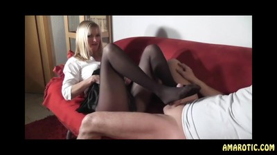DirtyTina: Nylon Footjob