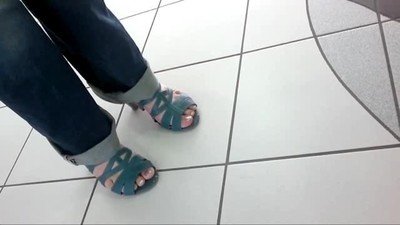 Friend's feet in blue..