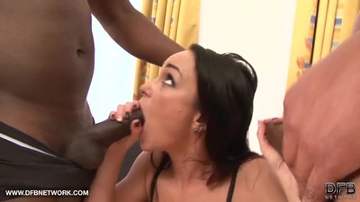 Babe in hardcore interracial..
